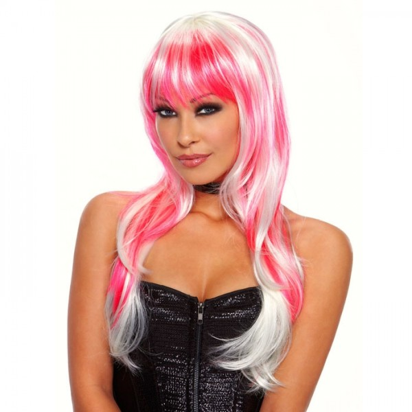 Бело-розовый парик CANDY