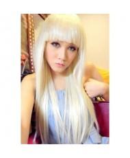 Длинный парик блонд с челкой