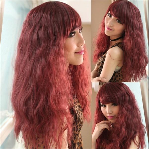 Длинный женский волнистый парик с челкой