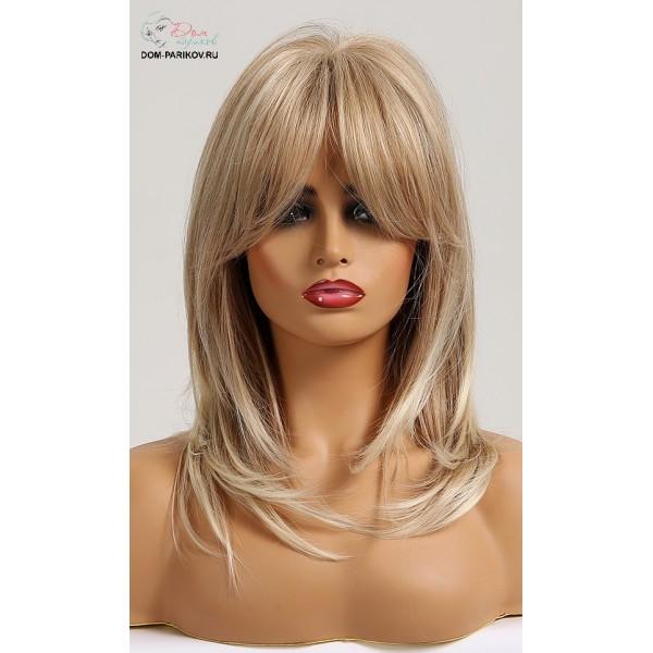 Искусственный парик с удлиненной челкой средней длинны DP-020