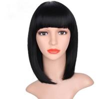 Черный парик каре из искусственных волос