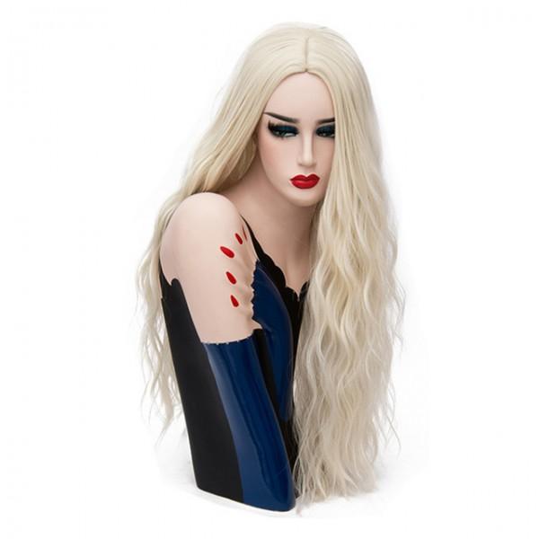 Волнистый длинный парик блонд без челки