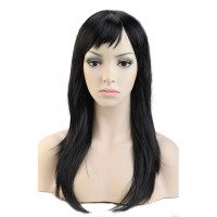 Черный искусственный парик средней длины