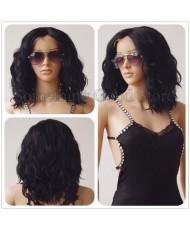 Волнистый черный парик без челки на сетке