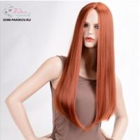 Рыжий длинный парик без челки