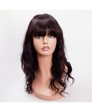Волнистый натуральный парик с челкой