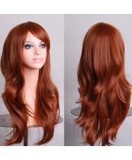 Длинный искусственный парик с удлиненной челкой