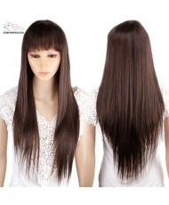 Длинный термостойкий прямой парик с челкой