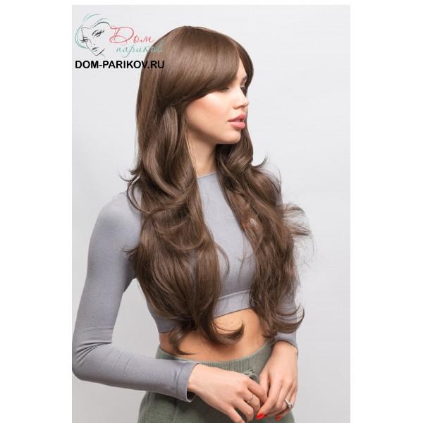 Длинный волнистый термо-парик с челкой