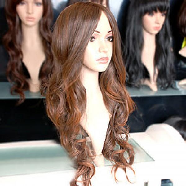 Вьющийся темно-каштановый парик без челки