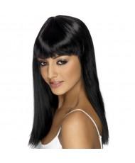 Соблазнительный высококачественный черный парик с челкой