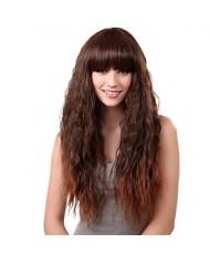 Вьющийся длинный каштановый парик с челкой