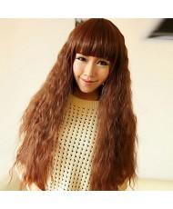 Каштановый волнистый парик