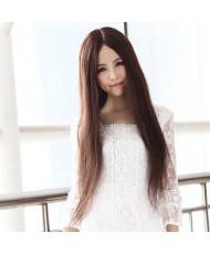 Парик каштановый, длинные прямые волосы без челки