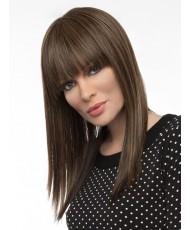Коричневый парик с челкой средней длины