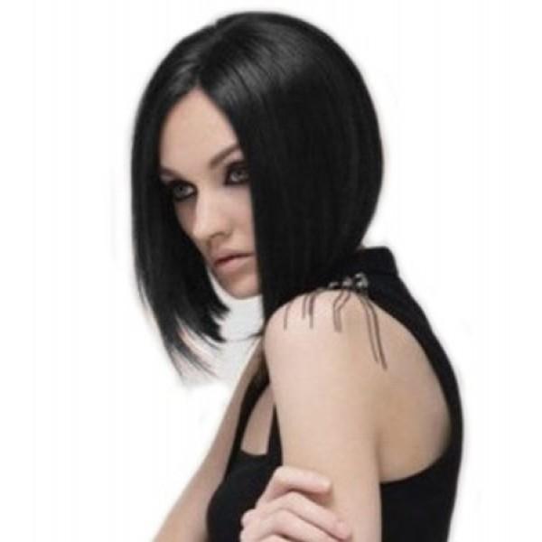 Черный парик каре без челки