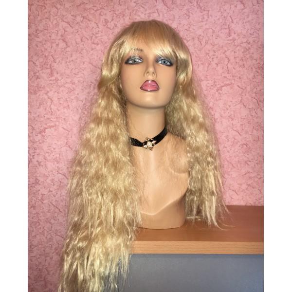 Волнистый длинный парик с челкой золотистый блонд