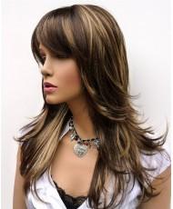 Мелированный русый парик с челкой