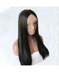 Прямой термостойкий парик на сетке черный