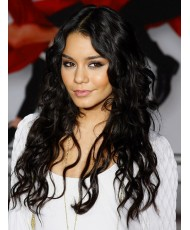 Волнистый черный парик из натуральных волос
