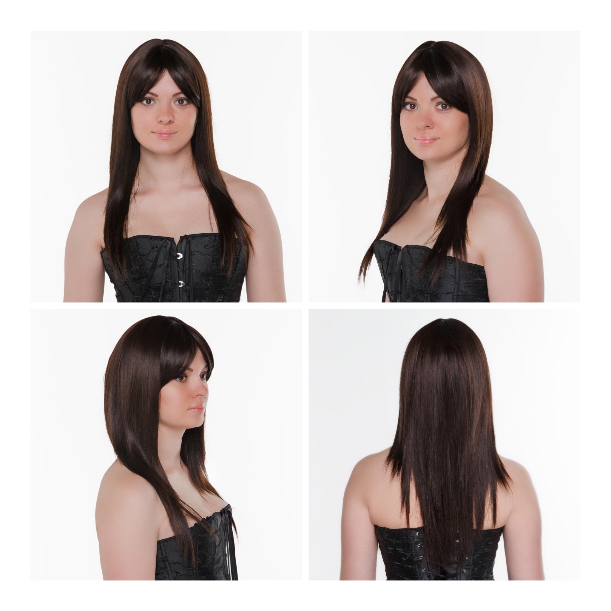 Темно-каштановый искусственный парик с удлиненной челкой P12 AT