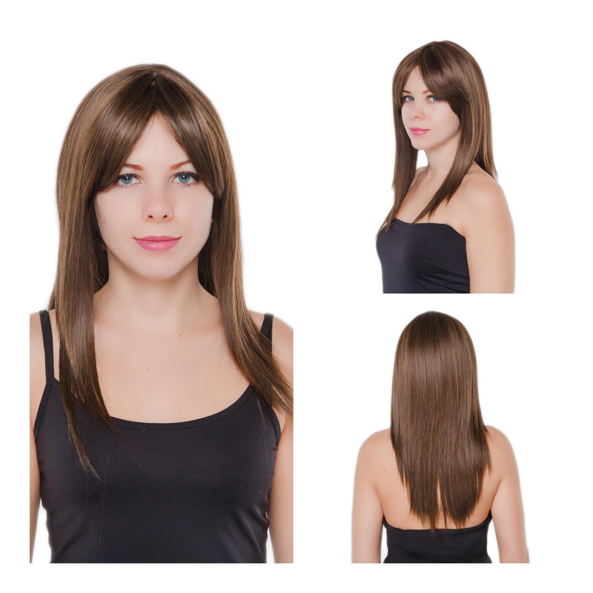 Светло-каштановый искусственный парик с удлиненной челкой P12 AT